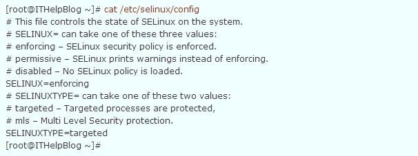 вывод конфига selinux