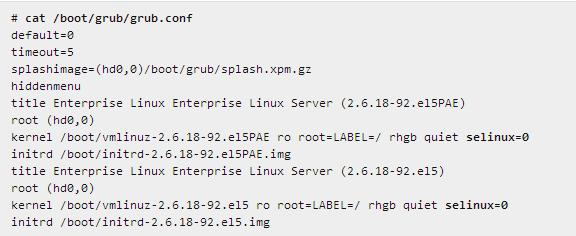 Отключение SELinux в самом загрузчике граб в grub.conf