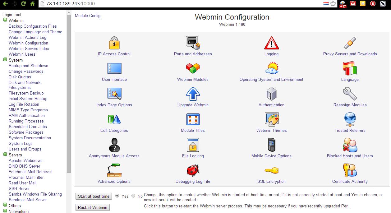 главное меню webmin