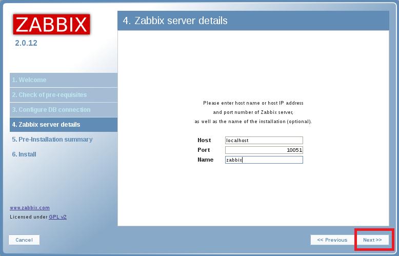настройка деталей для zabbix сервера
