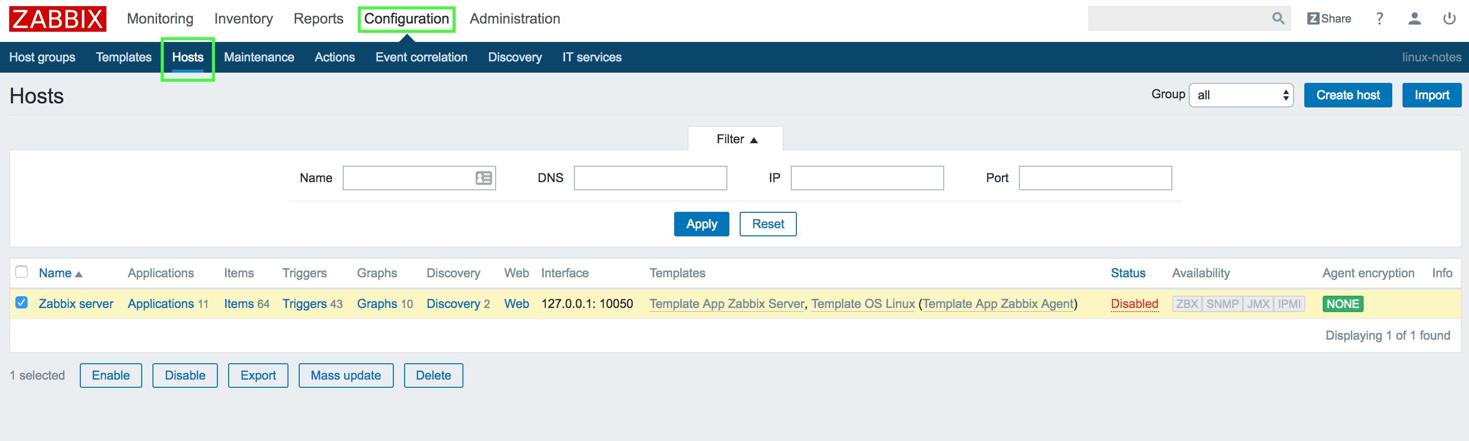 Включаем мониторинг Zabbix сервера