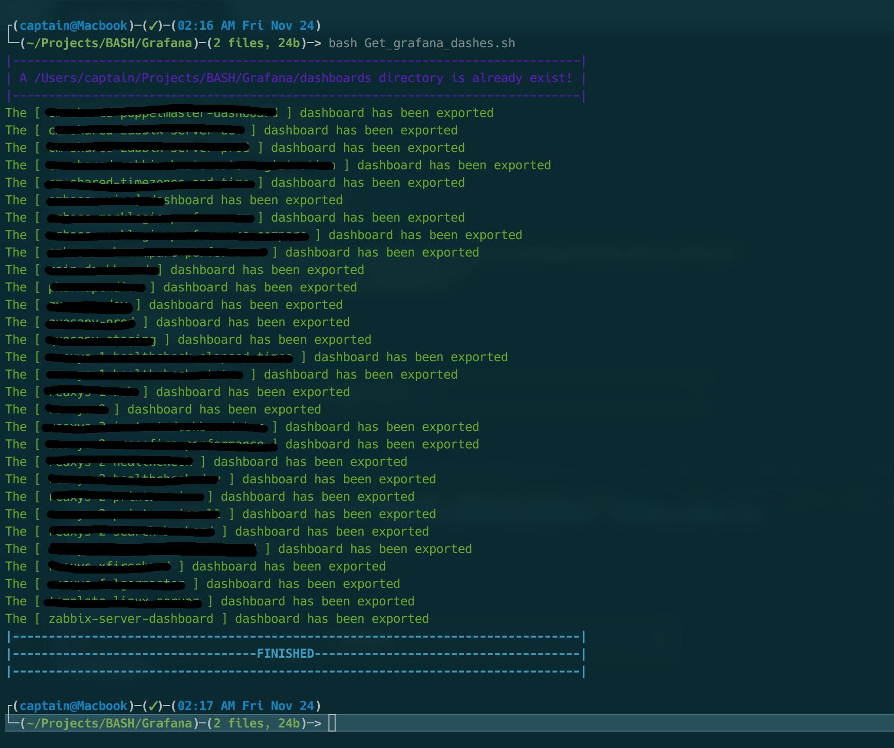 Экспорт дашбордов из grafana в Unix/Linux