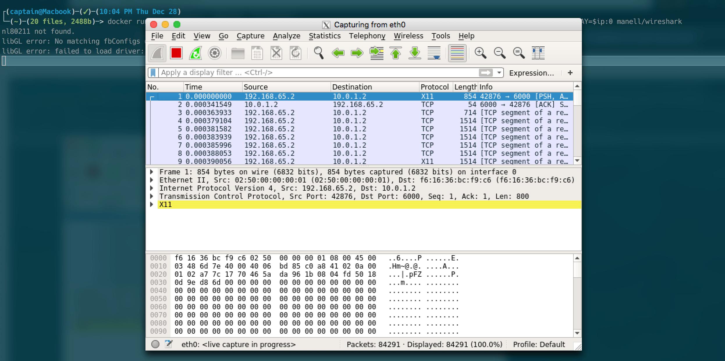 Запуск wireshark в Docker