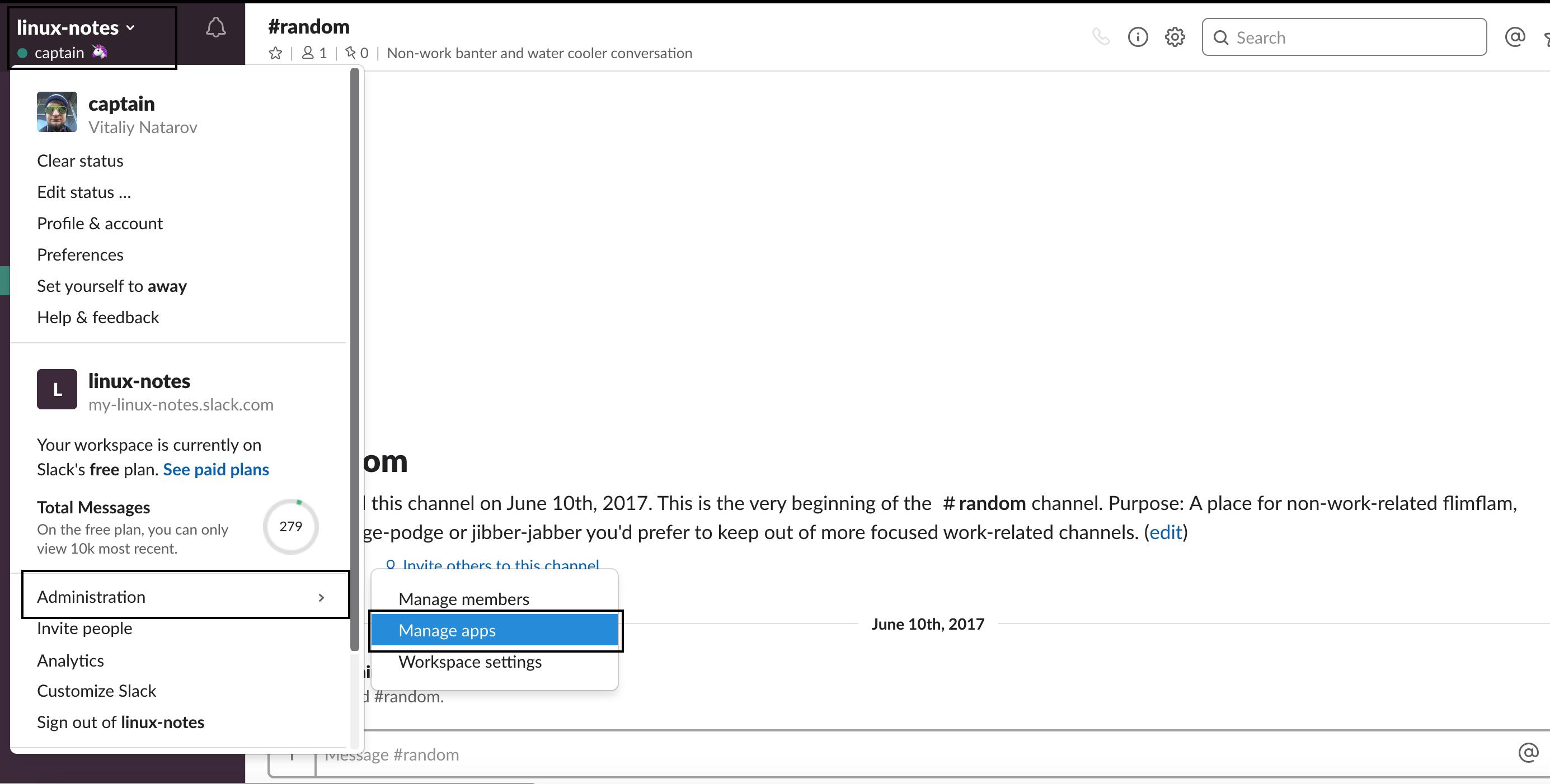 Создаение вебхука в слак