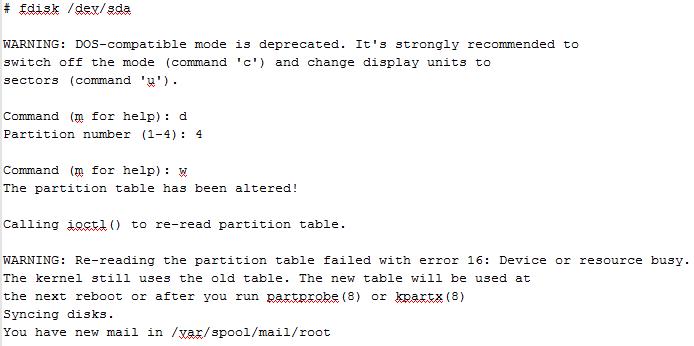 Как удалить раздел в Linux fdisk
