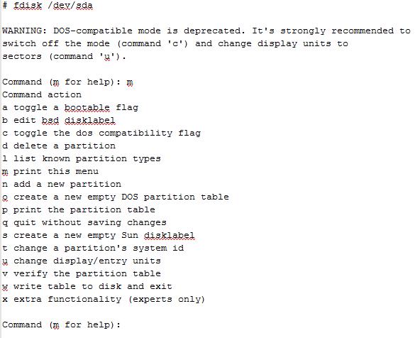 список команд FDISK
