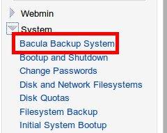 Меню Bacula Backup System