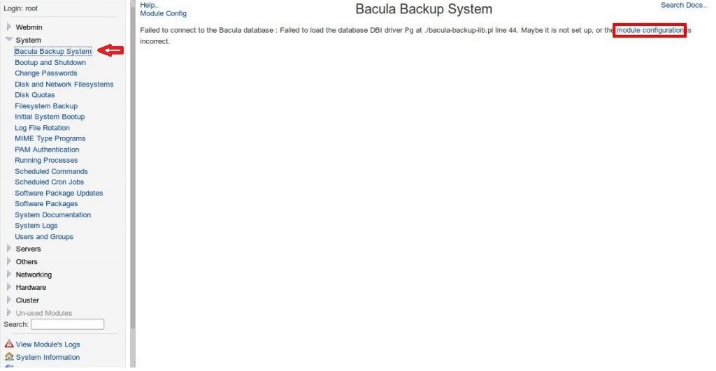 настройка webmin для bacula