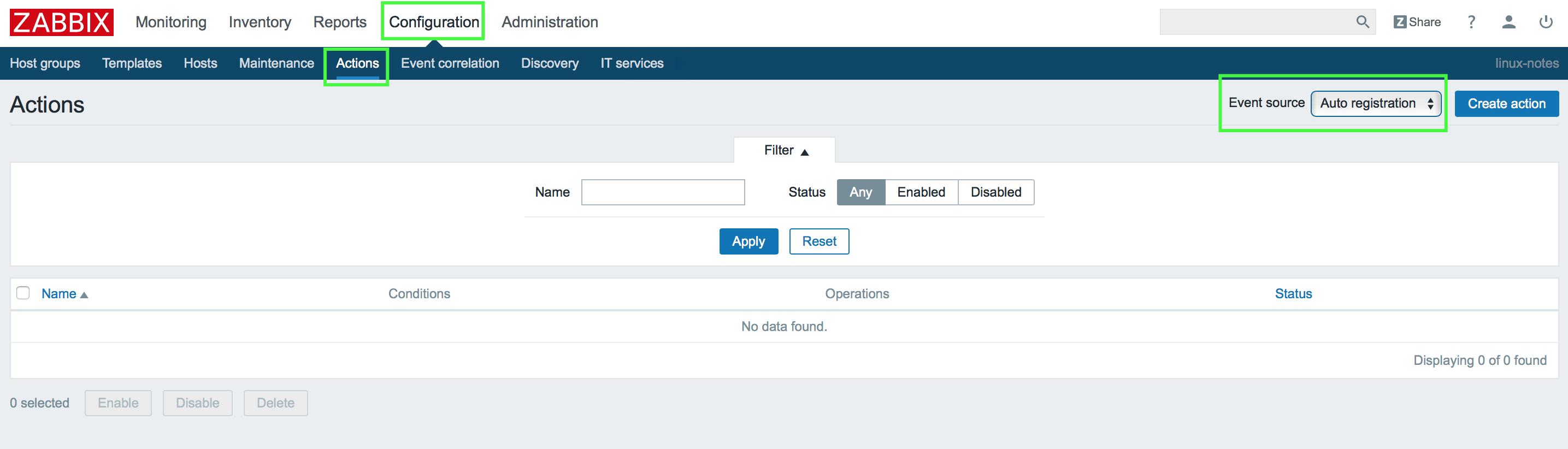Auto registration в zabbix