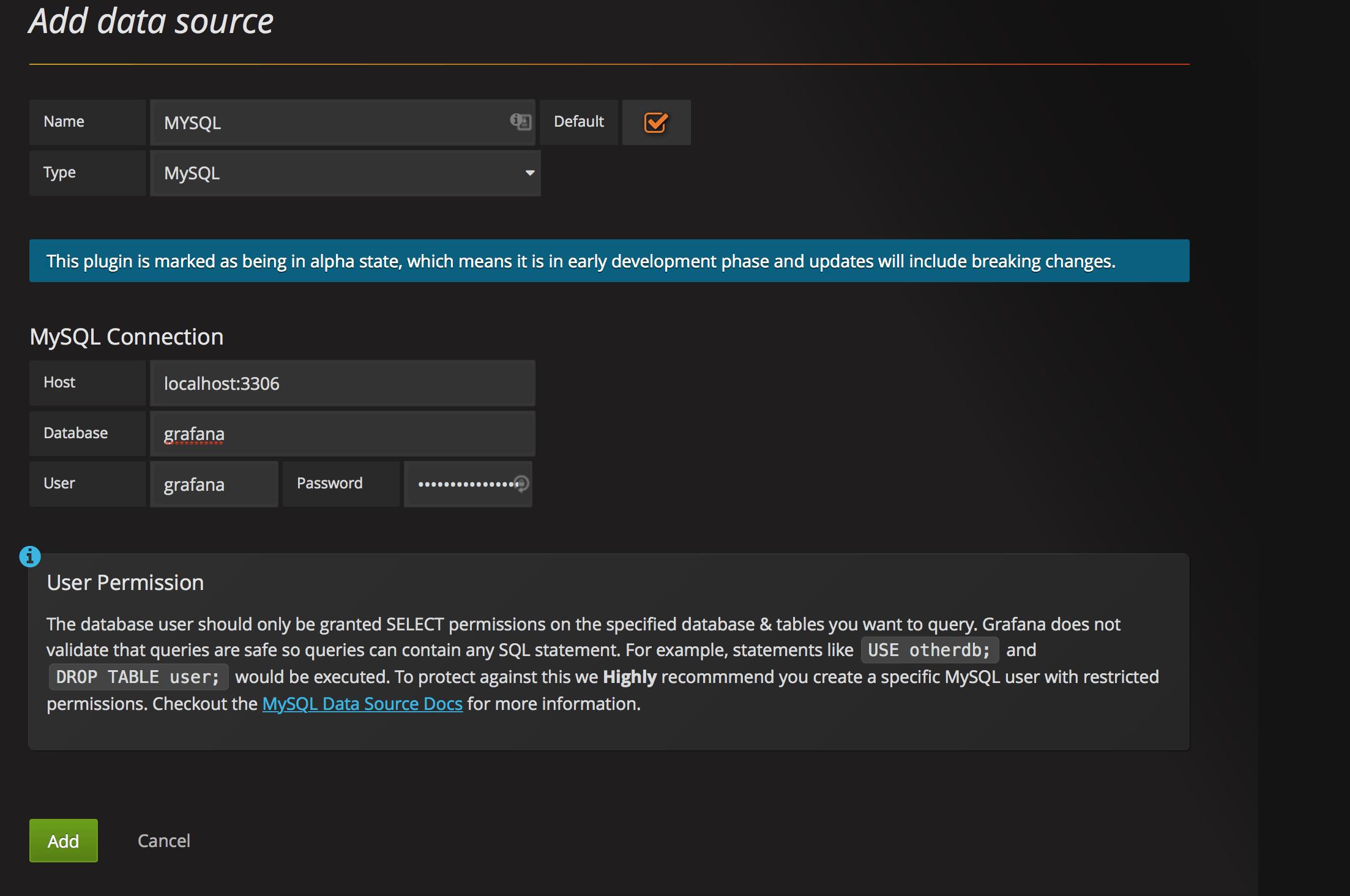 добавляем data source для grafana